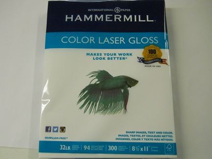 PAPER, COLOR LASER, 8-1/2 X 11, GLOSSY, HEAVYWEIGHT, 32#, 96 BRIGHT