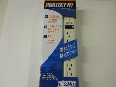 POWER STRIP/SURGE PROTECTOR, 7 OUTLETS, 12 FT CORD