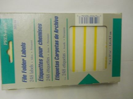 LABELS, DRI ROLL, YELLOW SELF ADHESIVE
