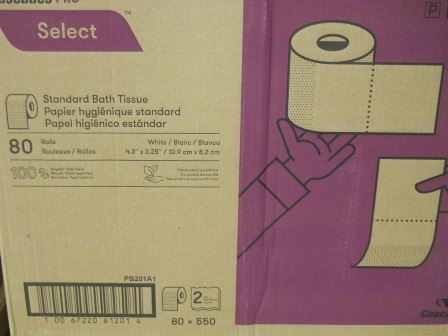 TISSUE, TOILET, 80/CA, 550 SHEETS/ROLL, 2-PLY